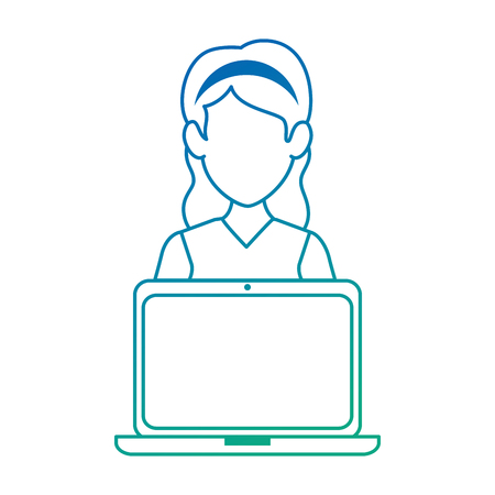 woman with laptop avatar vector illustration design Banco de Imagens - 88200010