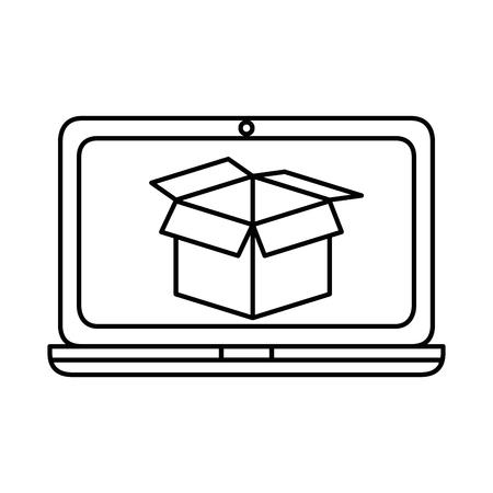 laptop computer with box vector illustration design Ilustração