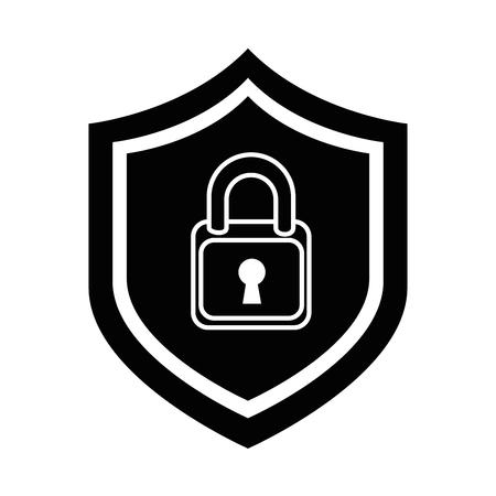 shield with safe padlock isolated icon vector illustration design Ilustração