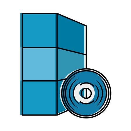 소프트웨어 설치 디스크 및 상자 벡터 일러스트 레이 션 디자인 일러스트