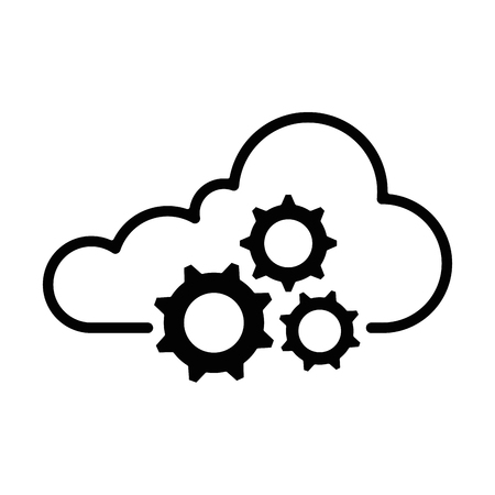 cloud computing with gears vector illustration design
