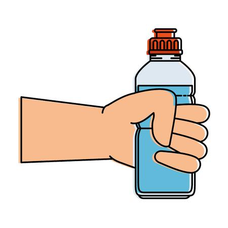 水ボトルジムアイコンベクトルイラストデザインで人間を手に  イラスト・ベクター素材