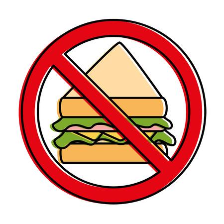 junkfood: prohibited sandwich fast food icon vector illustration design