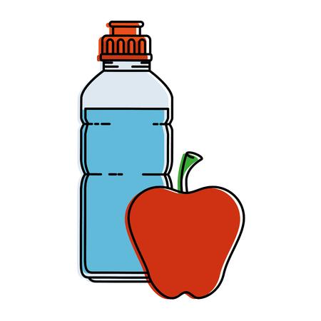 アップルベクトルイラストデザインと水ボトルジム  イラスト・ベクター素材