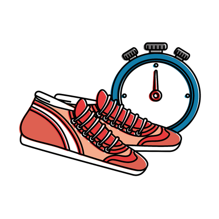 chronometer timer with tennis vector illustration design Çizim