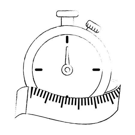 巻尺ベクトル イラスト デザインのクロノメーター タイマー