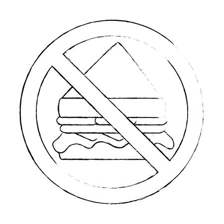 prohibited sandwich fast food icon vector illustration design