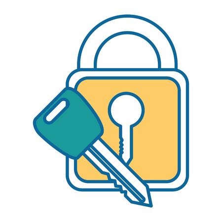 safe padlock with key vector illustration design Stock Vector - 88205206