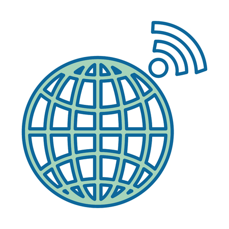 planet sphere with wifi signal vector illustration design Çizim