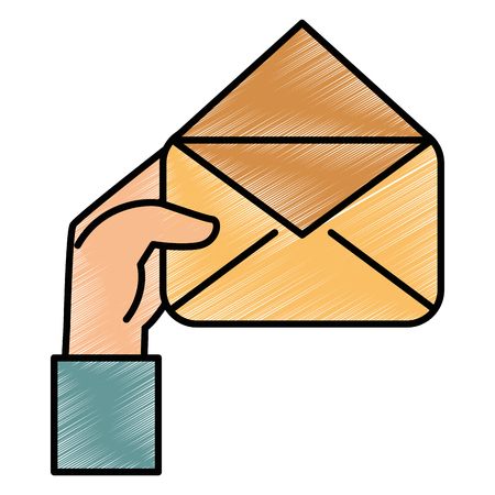 hand human with envelope mail isolated icon vector illustration design