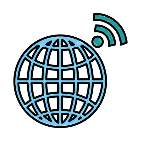 planet sphere with wifi signal vector illustration design Illustration