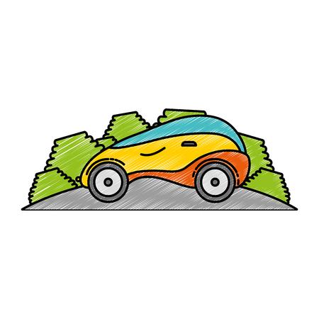 modern car futuristic in the road vector illustration design Illustration