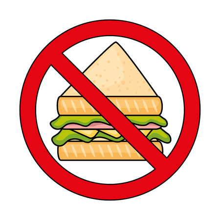 サンドイッチ ファーストフードのアイコン ベクトル イラスト デザインを禁止