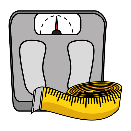 scale weight with tape measure icon vector illustration design