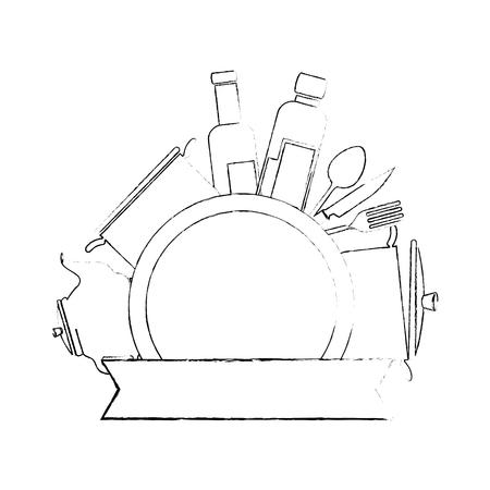 부엌 장비 엠 블 럼 벡터 일러스트 디자인 설정