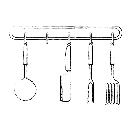 set kitchen equipment hanging vector illustration design Ilustrace