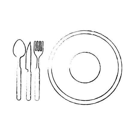 カトラリーのアイコン ベクトル イラスト デザイン皿します。  イラスト・ベクター素材