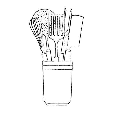 pot with set cutlery icon vector illustration design