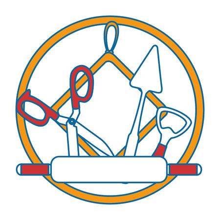set kitchen equipment emblem vector illustration design Ilustração