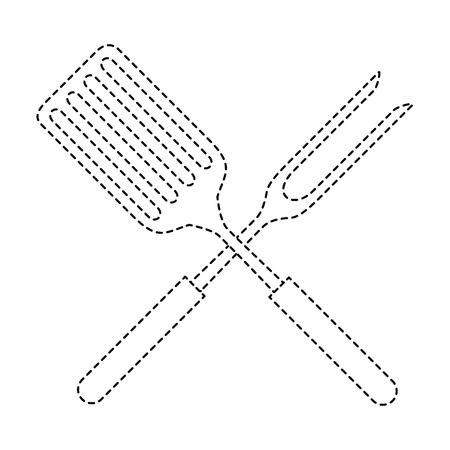 ヘラとフォーク キッチン カトラリー アイコン ベクトル イラスト デザイン