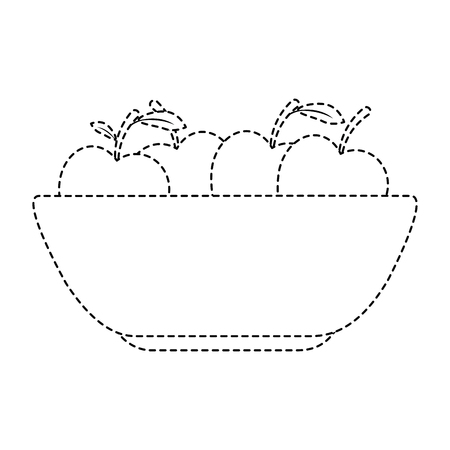 kitchen plastic bowl with apples vector illustration design