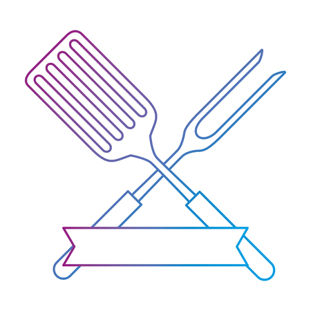 fork and spatula kitchen cutlery icon vector illustration design Ilustrace