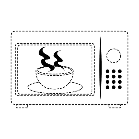 microwave oven with tea cup vector illustration design Ilustrace