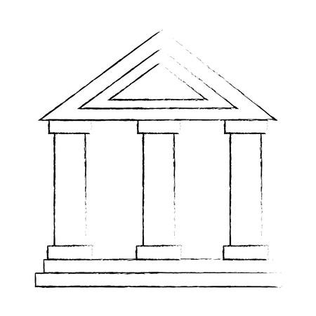 gebouw met kolommen pictogram vector illustratie ontwerp