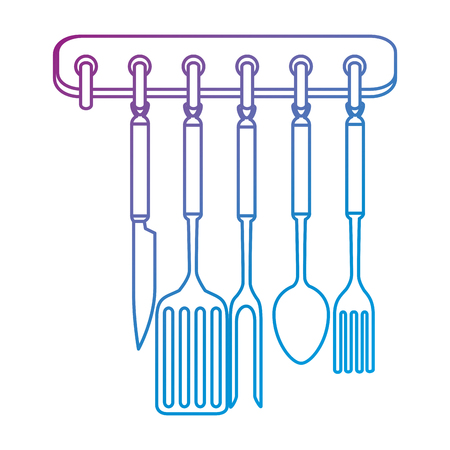 kitchen set equipment hanging vector illustration design Ilustrace