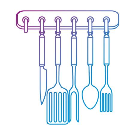kitchen set equipment hanging vector illustration design Illustration
