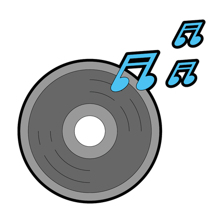 compact disk with music notes vector illustration design