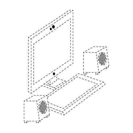 スピーカーとコンピューター デスクトップ ベクトル イラスト デザイン  イラスト・ベクター素材