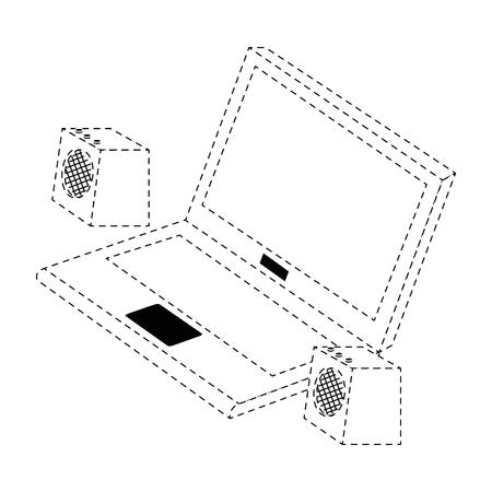 ラップトップ コンピューターのスピーカーでベクター イラスト デザイン