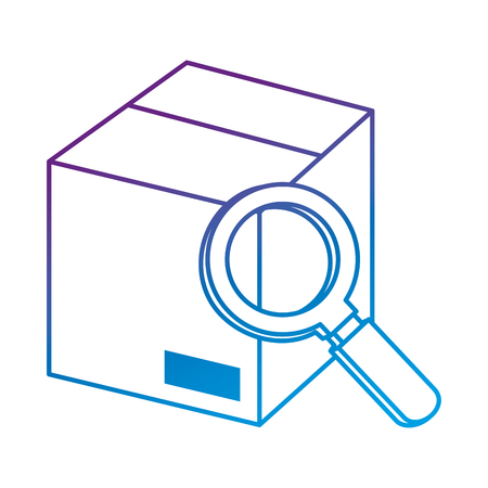 magnifying glass with box vector illustration design Illustration