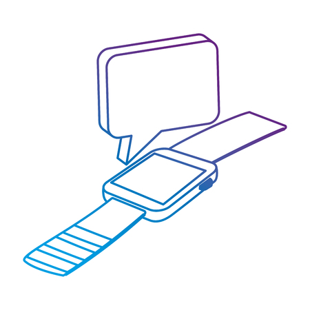 wristwatch clock with speech bubble vector illustration design