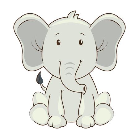 diseño lindo del ejemplo del vector del icono del carácter del elefante