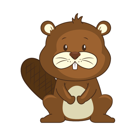 cute beaver character icon vector illustration design