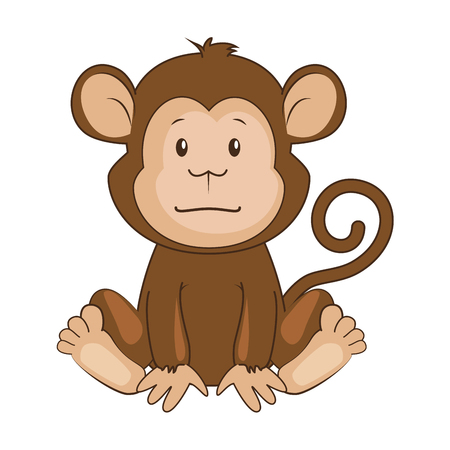 귀여운 원숭이 캐릭터 아이콘 벡터 일러스트 디자인 일러스트