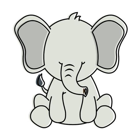 Leuk ontwerp van de het pictogram vectorillustratie van het olifantskarakter Stock Illustratie