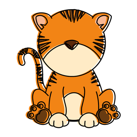 cute tiger character icon vector illustration design
