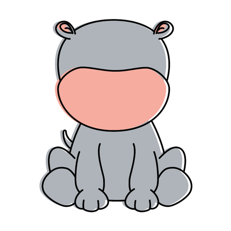 cute hippo character icon vector illustration design