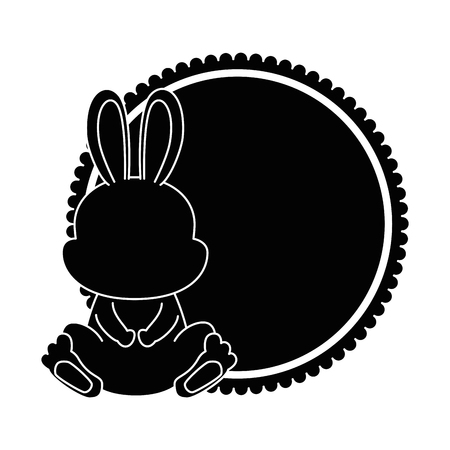 cute rabbit with lace character icon vector illustration design