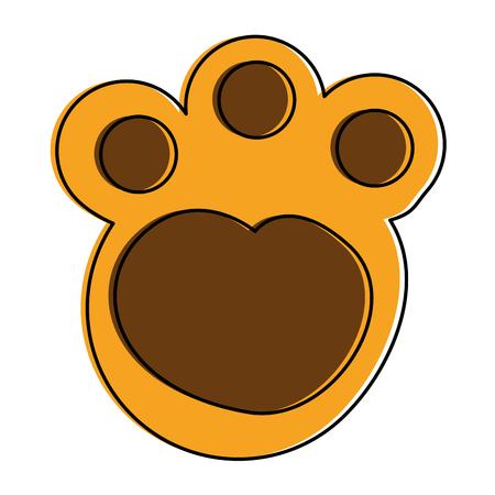 feline paw footprint isolated icon vector illustration design 向量圖像