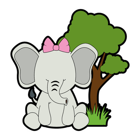 cute elephant in landscape vector illustration design 向量圖像