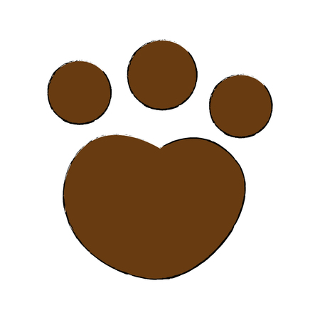 feline paw footprint isolated icon vector illustration design 向量圖像