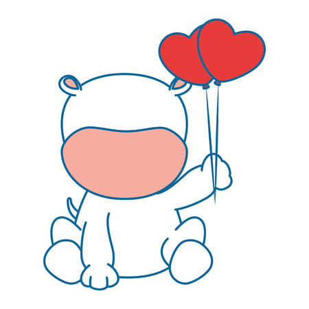 cute hippo with balloons air character icon vector illustration design