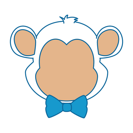 cute monkey with bowntie character icon vector illustration design