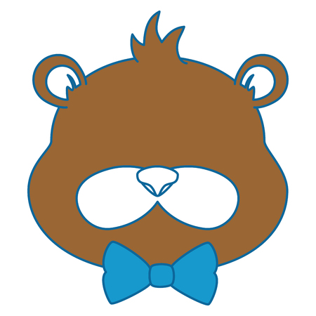 beaver: cute beaver with bowntie character icon vector illustration design Illustration