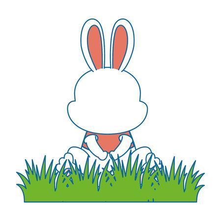 cute rabbit in landscape character icon vector illustration design