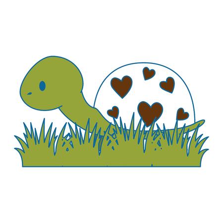 cute turtle in grass vector illustration design